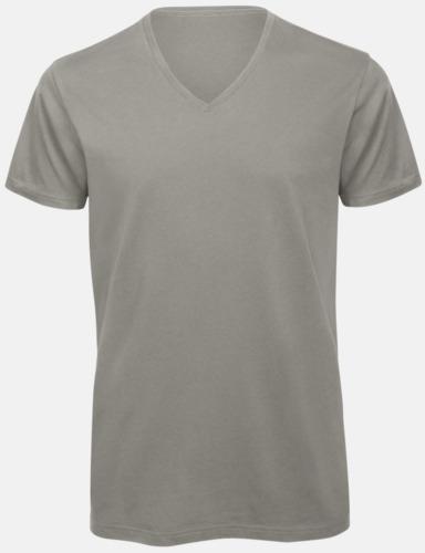 Ljusgrå (herr) Neutrala v-hals eko t-shirts med reklamtryck