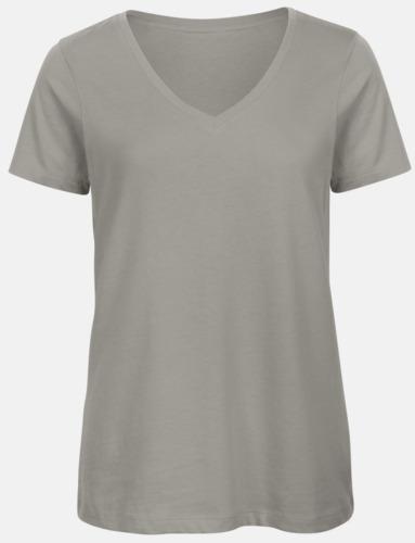 Ljusgrå (dam) Neutrala v-hals eko t-shirts med reklamtryck