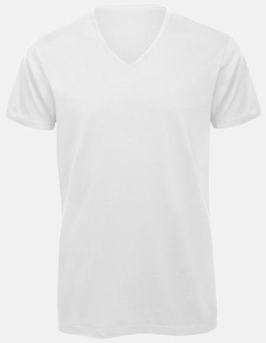 Vit (herr) Neutrala v-hals eko t-shirts med reklamtryck