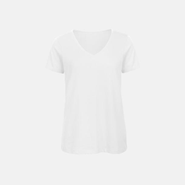 Vit (dam) Neutrala v-hals eko t-shirts med reklamtryck