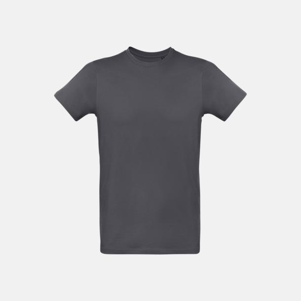 Mörkgrå solid (herr) Neutrala eko t-shirts i lite tjockare kvalitet med reklamtryck