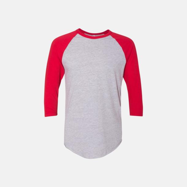 Heather Grey/Röd Trendiga unisex t-shirts med reklamtryck