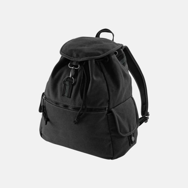 Vintage Black Bomullsryggsäckar med reklamtryck