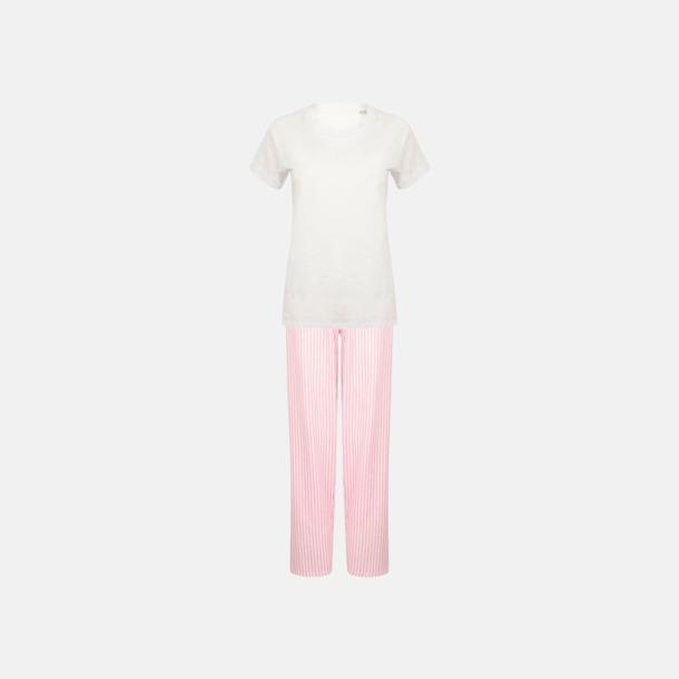 Vit/Rosa (long) 2 varianter av pyjamasset i påse med reklamtryck