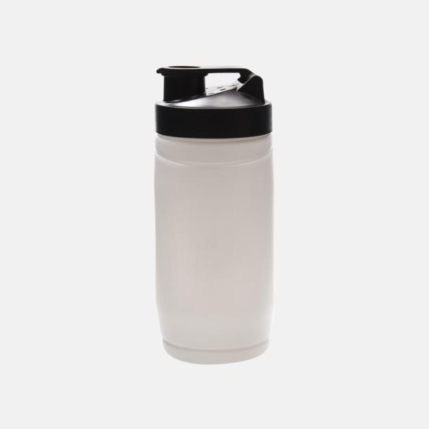 Vit flaska/Svart kork Stora shakers med reklamtryck
