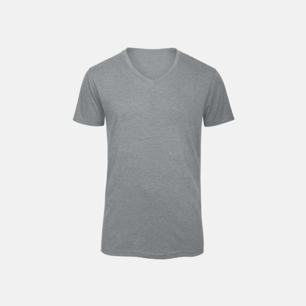 Heather Light Grey (herr) Triblend t-shirts med v-ringning - med reklamtryck
