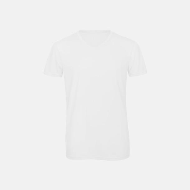 Vit (herr) Triblend t-shirts med v-ringning - med reklamtryck