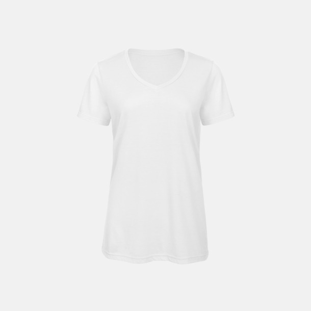 Vit (dam) Triblend t-shirts med v-ringning - med reklamtryck
