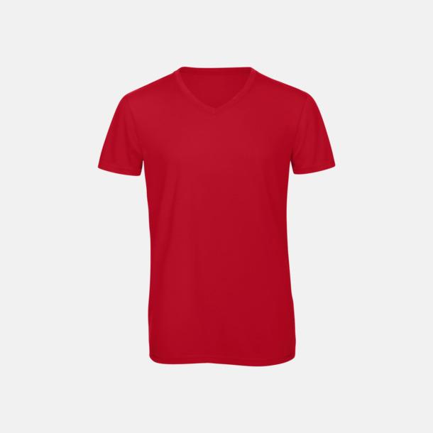 Röd (herr) Triblend t-shirts med v-ringning - med reklamtryck