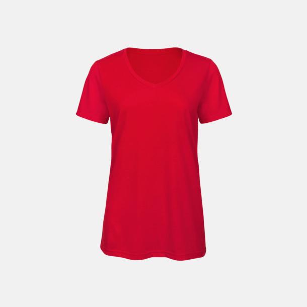 Röd (dam) Triblend t-shirts med v-ringning - med reklamtryck
