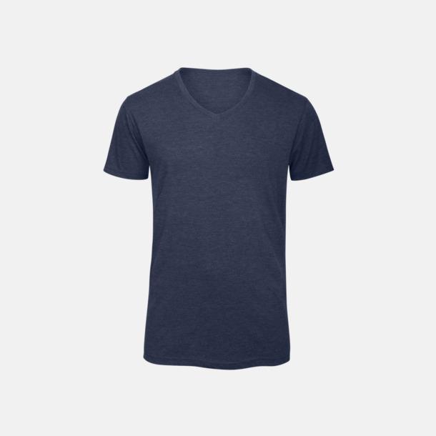 Heather Navy (herr) Triblend t-shirts med v-ringning - med reklamtryck