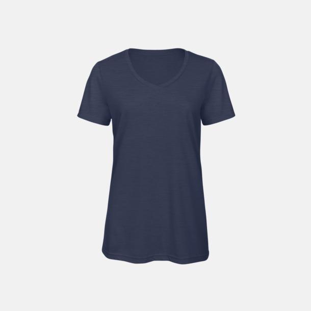 Heather Navy (dam) Triblend t-shirts med v-ringning - med reklamtryck