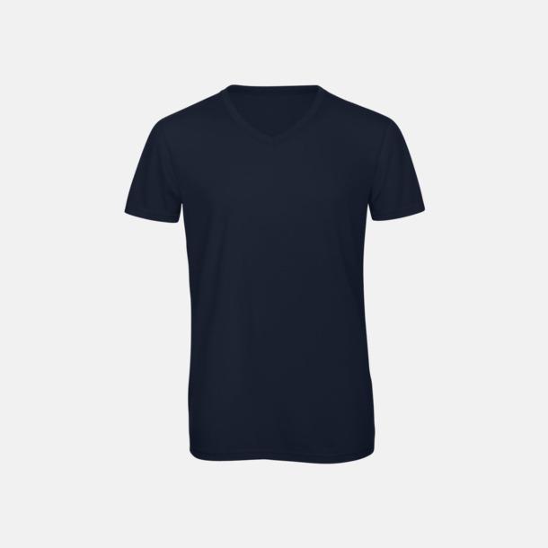 Marinblå (herr) Triblend t-shirts med v-ringning - med reklamtryck
