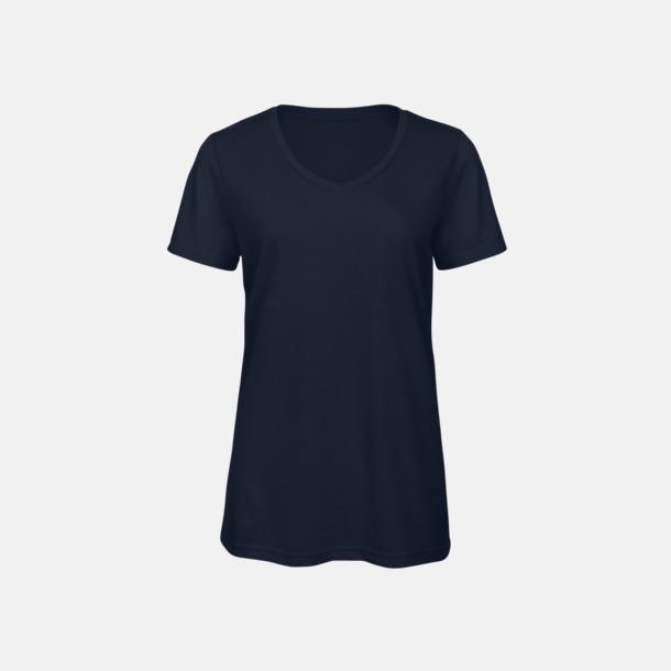 Marinblå (dam) Triblend t-shirts med v-ringning - med reklamtryck