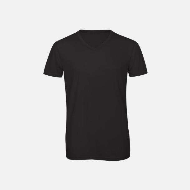 Svart (herr) Triblend t-shirts med v-ringning - med reklamtryck