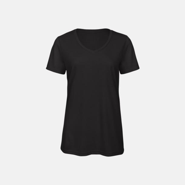Svart (dam) Triblend t-shirts med v-ringning - med reklamtryck