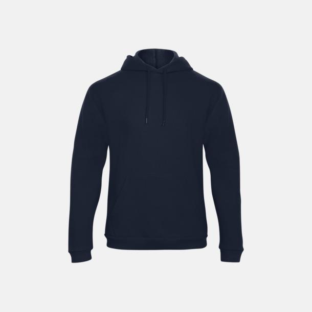 Marinblå Unisex luvtröjor med reklamtryck