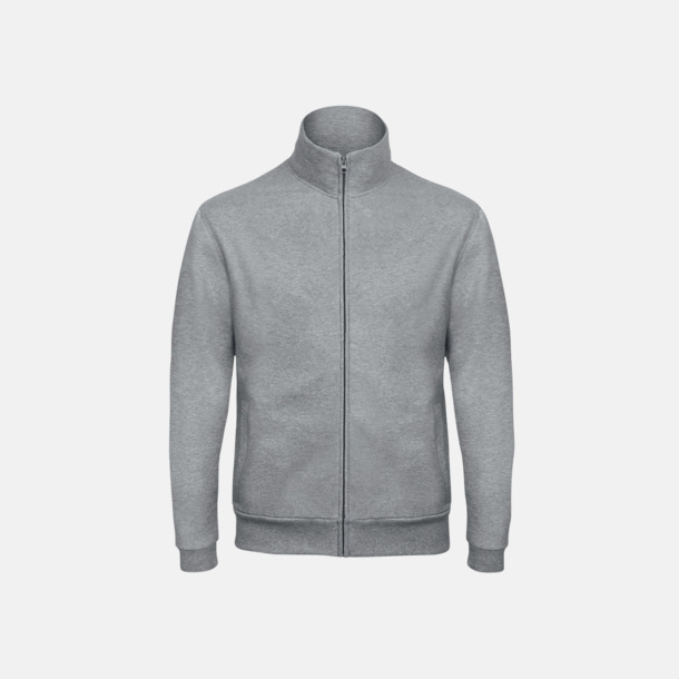 Heather Grey Unisex zip sweatshirts med reklamtryck