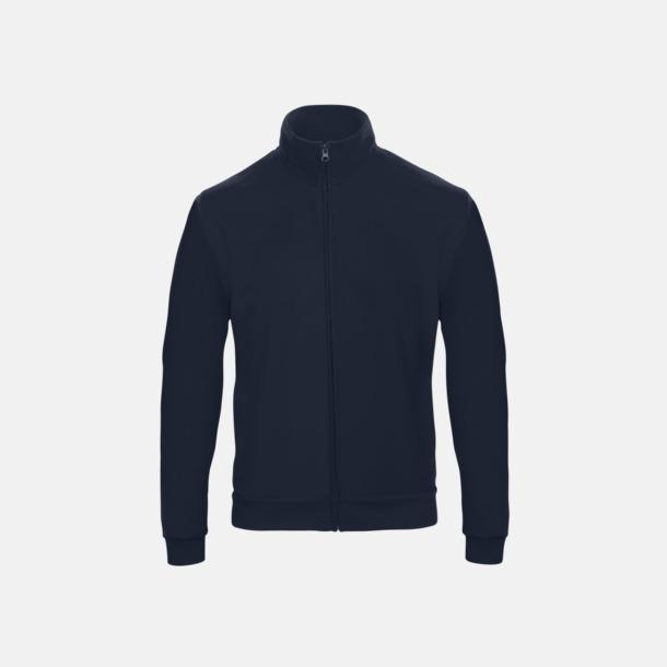 Marinblå Unisex zip sweatshirts med reklamtryck