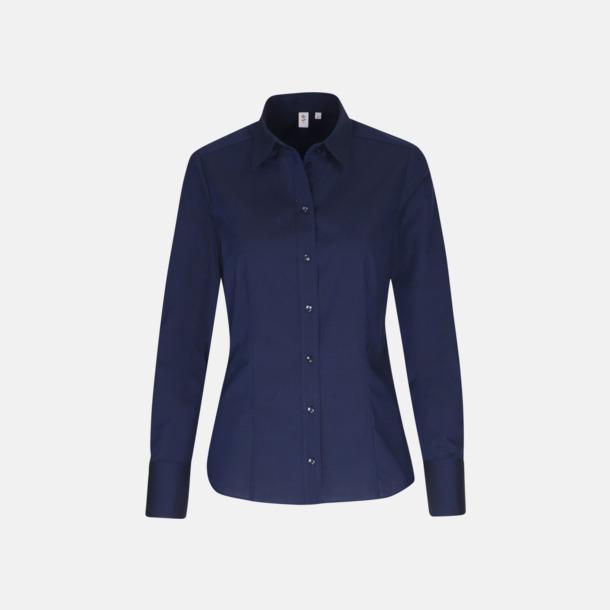 Mörkblå (dam) Moderna & exklusiva skjortor med reklamlogo