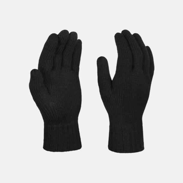 Svart Stickade handskar med reklamlogo