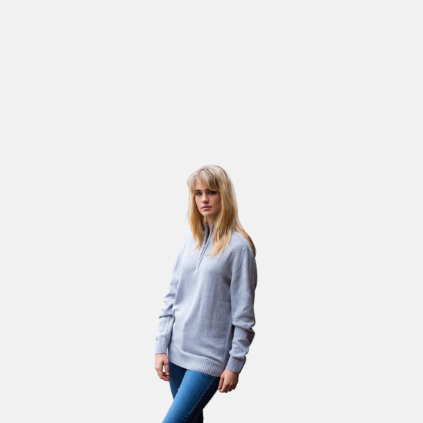 Blixtlås tröjor i återvunnen bomull med reklamtryck