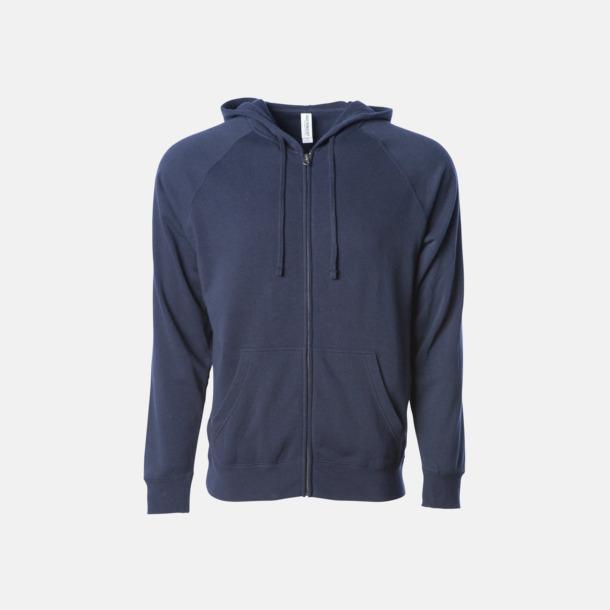 Classic Navy Blixtlås hoodies i unisex med reklamtryck