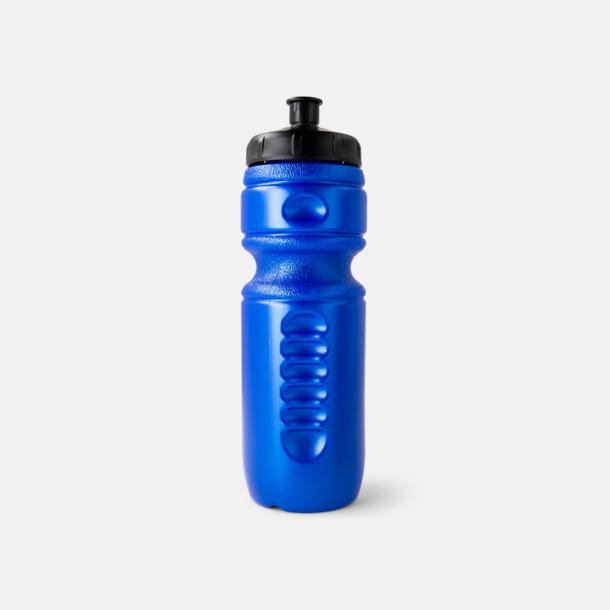 Blå metallic flaska (PMS 294)/svart kork Sportflaskor med reklamtryck