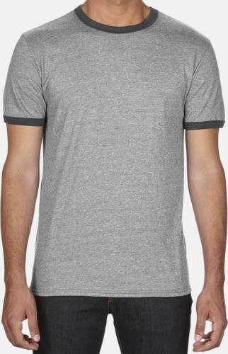 T-shirts med kontrast ärmslut och krage - med reklamtryck