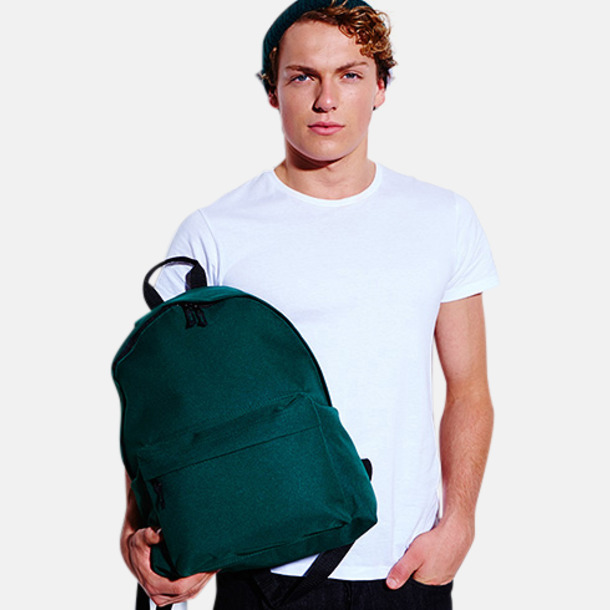 Stor, bottle green ryggsäck Klassisk ryggsäck i 2 storlekar med eget tryck