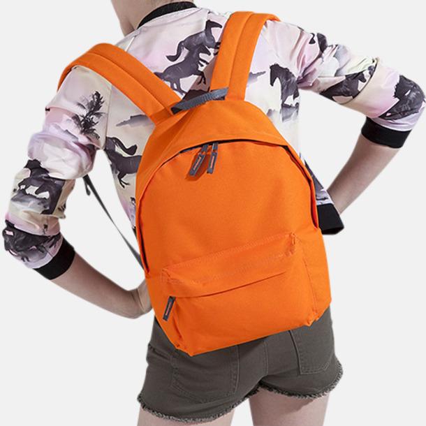 Liten, orange/graphite grey ryggsäck Klassisk ryggsäck i 2 storlekar med eget tryck