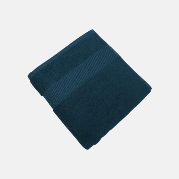 Marinblå Fina handdukar i 4 storlekar med reklamlogo