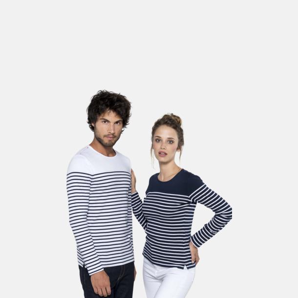 Randiga, långärmade t-shirts med reklamtryck