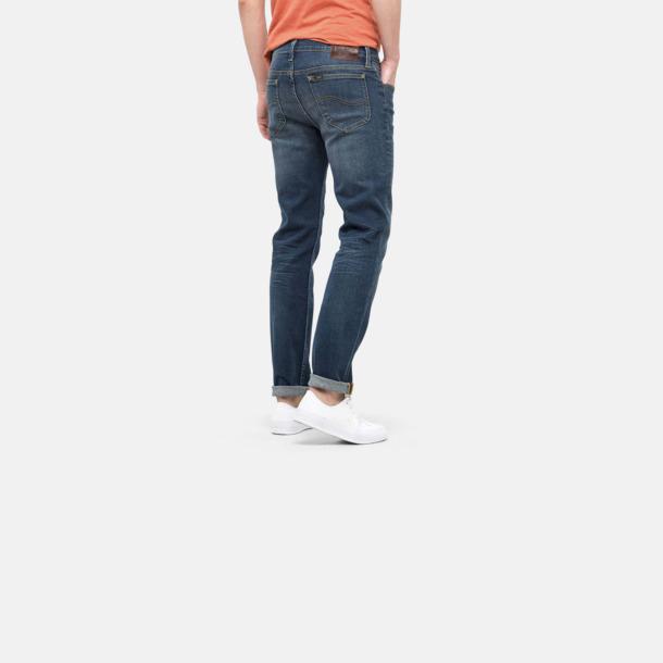 Slimmade herr Lee jeans med reklamlogo