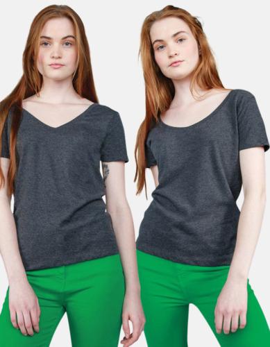 Samma t-shirt två sätt att bära den Dam -t-shirts med v- OCH u-hals - med reklamtryck