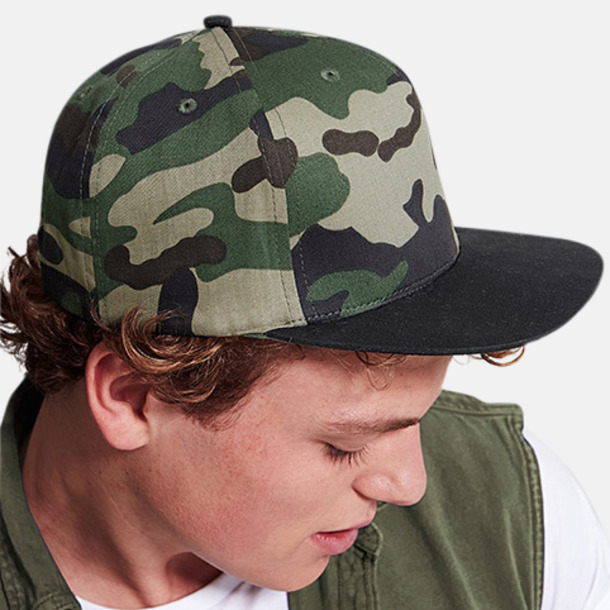 Kamouflagekepsar med snapback - med reklamtryck
