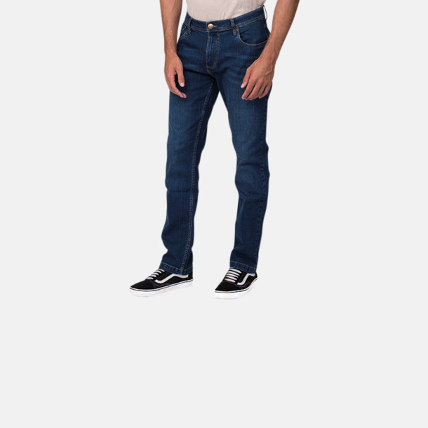 Raka herr- & dam denim jeans med reklamlogo