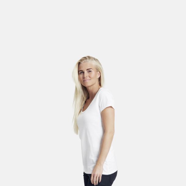 Eko bas t-shirts Fairtrade dam med djup u-ringning med reklamtryck