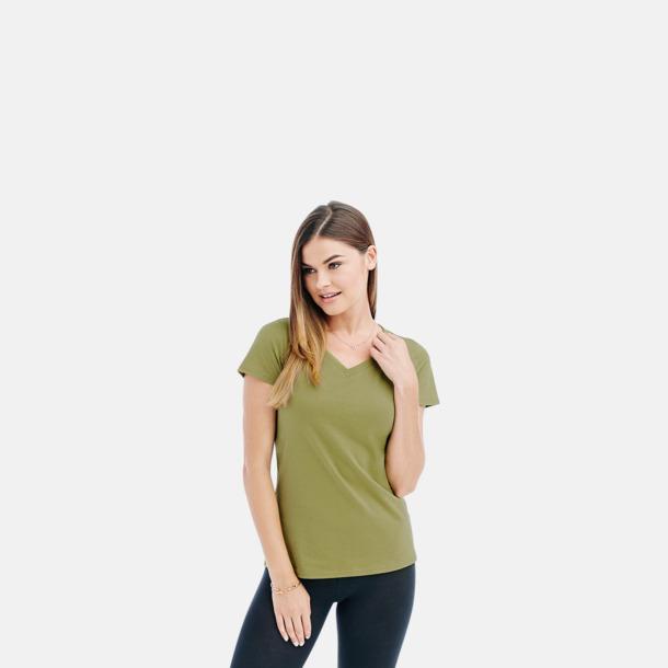 V-neck dammodell i earth green Ekologiska t-shirts i flera modeller och många färger - med reklamtryck