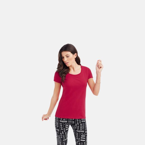 Crew-neck dammodell i pepper red Ekologiska t-shirts i flera modeller och många färger - med reklamtryck