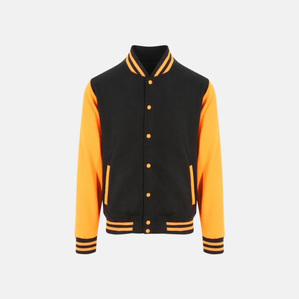 Jet Black/Orange Crush Trendiga varsity-jackor med tryck
