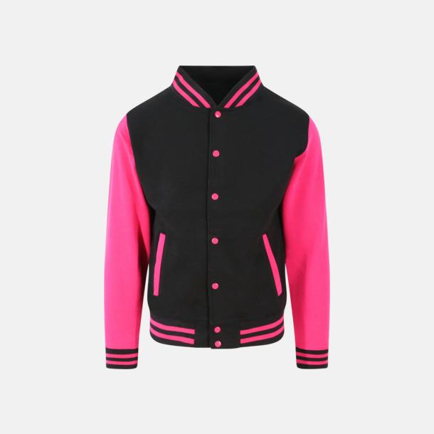 Jet Black/Hot Pink Trendiga varsity-jackor med tryck