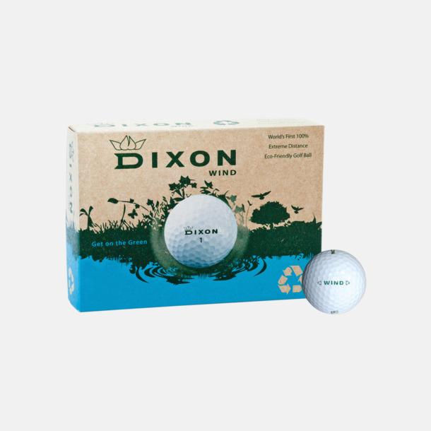 Vita golfbollar Dixon Wind - Ekologiska logobollar med tryck