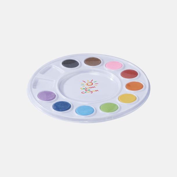 Med reklamtryck Vattenfärger på palett med reklamtryck
