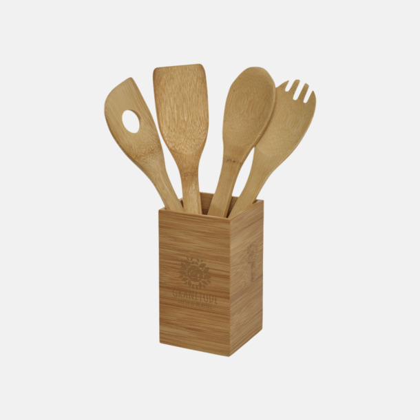 Med reklamlogo Set med köksredskap i trä med reklamtryck