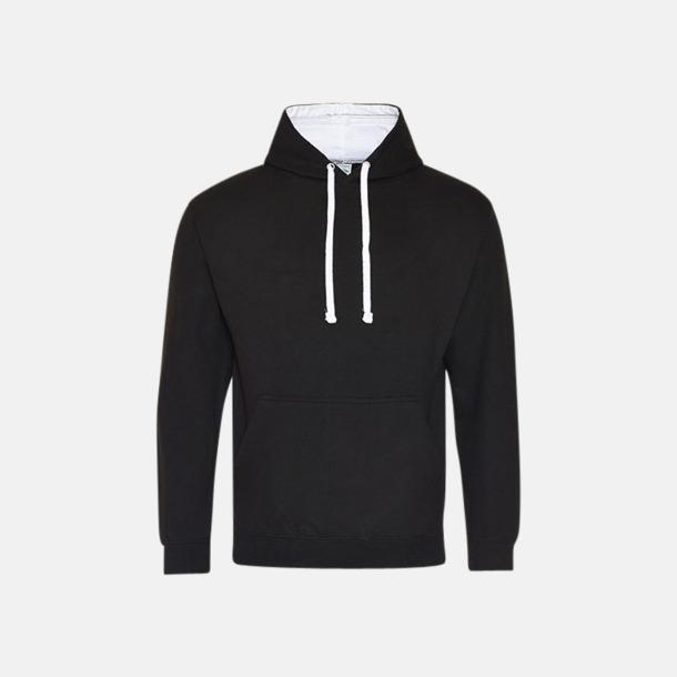 Jet Black/Arctic White Huvtröjor med insida av luva och dragsko i kontrasterande färg - med reklamtryck