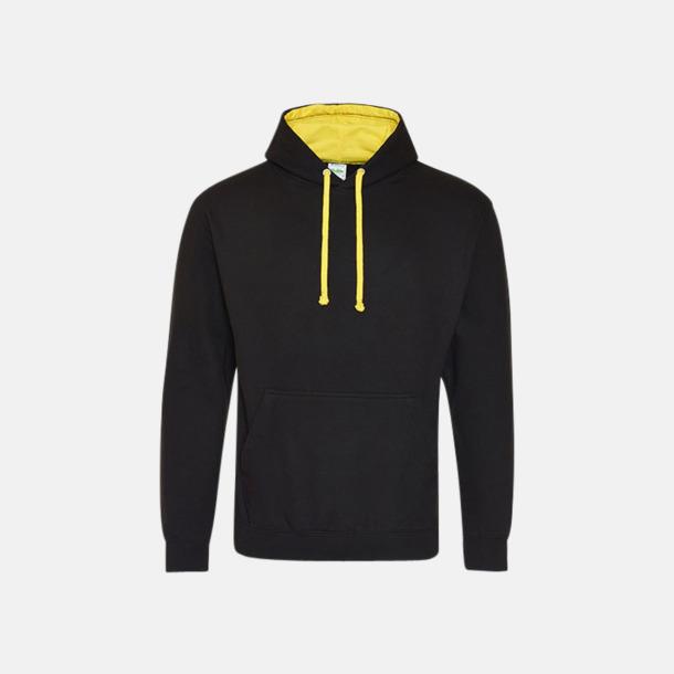 Jet Black/Sun Yellow Huvtröjor med insida av luva och dragsko i kontrasterande färg - med reklamtryck