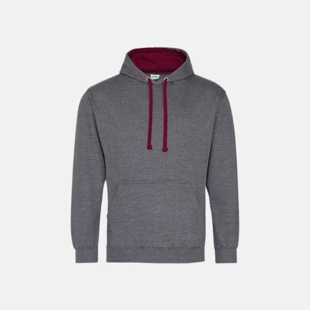Charcoal (heather)/Burgundy Huvtröjor med insida av luva och dragsko i kontrasterande färg - med reklamtryck