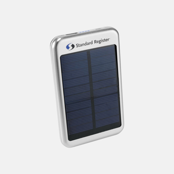 Med reklamlogo Solcellsdrivna powerbanks 4000 mAh med egen logga