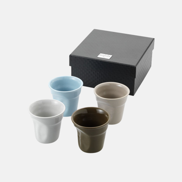 Med reklamlogo 4-delars espressoset med reklamtryck